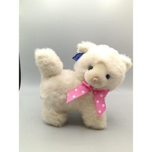Vintage Applause White Cat Plush, Kitten with Pink